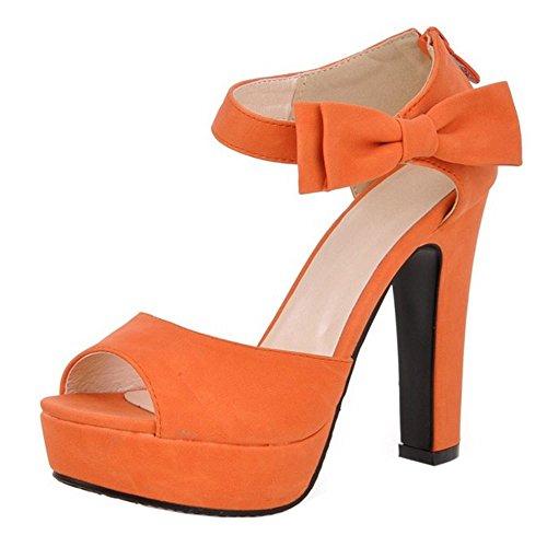 COOLCEPT Damen Mode Knochelriemchen Sandalen Peep Toe Blockabsatz Schuhe Mit Zipper Orange