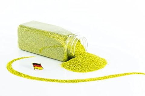 Sable coloré / sable décoratif TIMON, vert po mme brillant, 0,1-0,5 mm, bouteille de 605 ml, fabriqué en Allemagne - Sable fin décoratif - monsterkatz