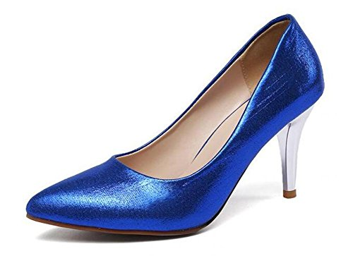 Beauqueen Pompes Scarpin Kitten Mid Heel Peep-Toe Women's Work Casual Chaussures Europe Taille In Big Size 34-43 Blue