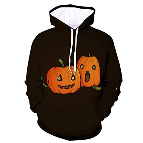 Qinhanjia 3D-Grafik gedruckt Hoodies Pullover Halloween Sweatshirts Pullover für Männer Frauen Plus Size, Kürbis 3D Digitaler Geometrischer Druck mit Kapuze Strickjackemantel (Gold, L) -