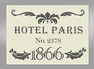 pochoir artisanal hotel paris mylar 29 7 cm x 21 cm royaume uni cuisine maison. Black Bedroom Furniture Sets. Home Design Ideas