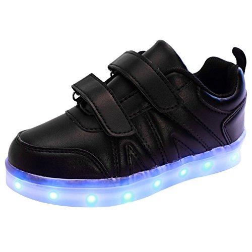 iBaste Kinderschuhe LED Sportschuhe Kinder USB Aufladen 7 Lichtfarbe LED Leuchtend Sport Schuhe PU Sneaker Turnschuhe für Kinder Jungen Mädchen 3 Farbe Schwarz
