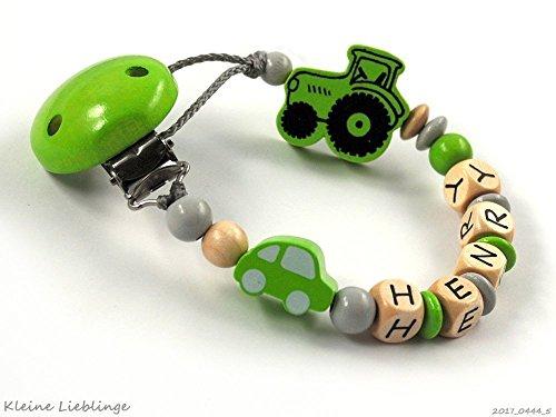 Schnullerkette mit Namen für Jungen 2-7 Buchstaben Auto Trecker/Traktor - grün grau natur Holz - geprägte Holzbuchstaben Baby Geschenk - Taufgeschenk - Handarbeit -