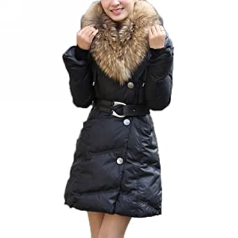 damen winterjacke wintermantel daunenjacke daunenmantel lang mit pelz warm s xxl. Black Bedroom Furniture Sets. Home Design Ideas