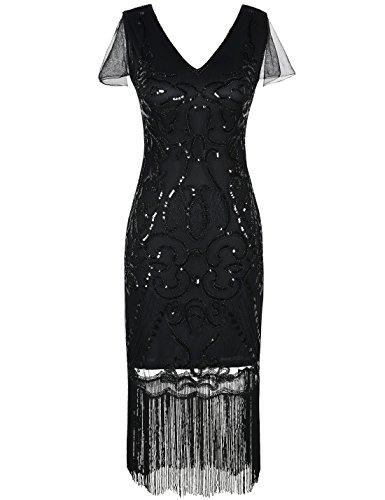 PrettyGuide Damen 1920er Flapper Kleid Pailletten Great Gatsby Cocktailkleider M (Kleid Gatsby Great Flapper)
