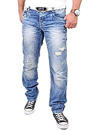 Cipo & Baxx Herren Jeans Destroyed Look Regular Fit Jeanshose CD-104 Blau