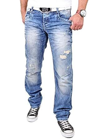 Cipo & Baxx Herren Jeans Destroyed Look Regular Fit Jeanshose CD-104 Blau W29 / L32