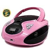 Lauson Lecteur CD | Radio Portable | USB | Radio Stéréo CD Lecteur MP3 pour Enfants | Chaîne stéréo | Prise Casque | Aux in - Écran LCD - Batterie et Alimentation électrique | CP638 (Rose)