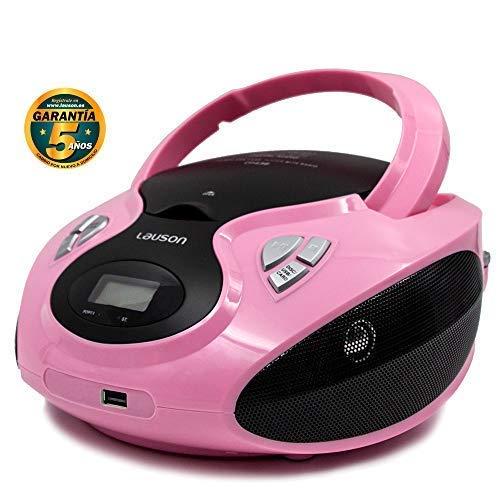 Lauson Lecteur CD | Radio Portable | USB | Radio Stéréo CD Lecteur MP3 pour Enfants | Prise Entrée AUX et Appareils Auditifs - Batterie et Alimentation électrique | CP638 (Rose)