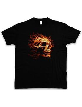 BURNING SKULL I T-SHIRT – cranio Dead Tattoo Art Rockabilly Skeleton Roses Artist Flash Death Reaper Bones Oldschool...