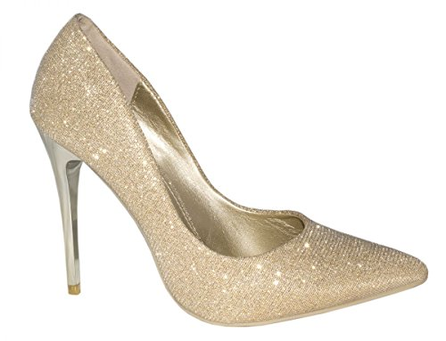 Elara Damen Pumps | Spitze Glitzer Stilettos | High Heels Gold