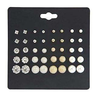 MJARTORIA 20 Paar Ohrstecker Set Perlen Strass Metall Gold und Silber Farbe Oder Cartoon Kleine Tiere Eule Blumen Ohrringe für Mädchen Damen