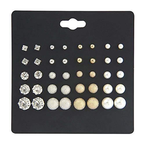 MJARTORIA 20 Paar Ohrstecker Set Perlen Strass Metall Gold und Silber Farbe Oder Cartoon Kleine Tiere Eule Blumen Ohrringe für Mädchen Damen (Ohrringe Kleine Strass)
