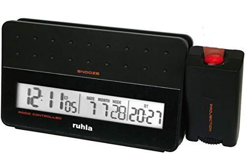 ruhla digitaler Funkwecker schwarz mit Zeit Projektion Tag Datum Woche und USB Handy Ladestation