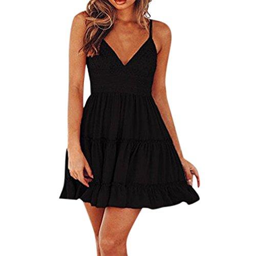 Petalum Damen Kleid Sommerkleid Ärmellos V Ausschnitt A Linie Partykleid Rückenfrei Spaghettiträger Strandkleid mit Schleifen in 4 Farben -