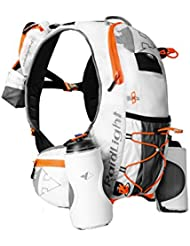 RAIDLIGHT - Raidlight MOCHILA ULTRA BOTTLES 8 LITROS WHITE/ORANGE + 2 BIDONES 600ML - RDL-RM008U161P0106