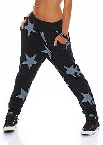 malito Boyfriendhose Star mit Knopfleisten Baggy Hose Sweatpants Jogginghose Sporthose Freizeithose Pants Shorts Fitness Yogapants Jogger Unisex 3303 Damen One Size (schwarz)