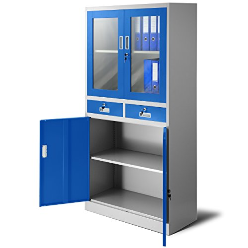 Aktenschrank C017 mit 2 Schubladen Medizinschrank Büroschrank 2 Abteile Pulverbeschichtung Stahlblech 185 cm x 90 cm x 40 cm (grau/blau) -