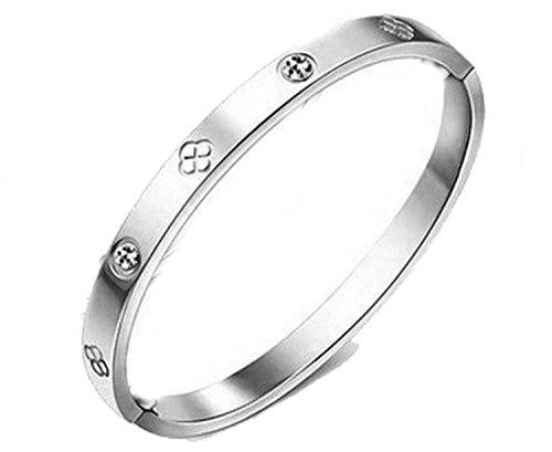ségold vergoldet Titan Stahl Ewigkeit Ring Armband, Frauen Mädchen, (f1393) (silver) (Ring Armbänder)