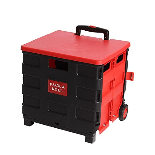 Transport Trolley klappbar Einkaufstrolley Einkaufswagen Klappbox Transportwagen Shopping Trolley Faltbox Aluminium Kunststoff , black red