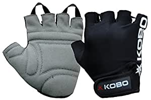 Kobo WTG-05 Leather Gym Gloves, Small (Black)