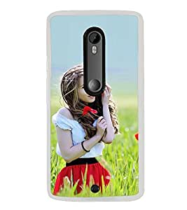 Fiobs Designer Back Case Cover for Motorola Moto X Play (Girl Lady Beautiful Nature Woods )