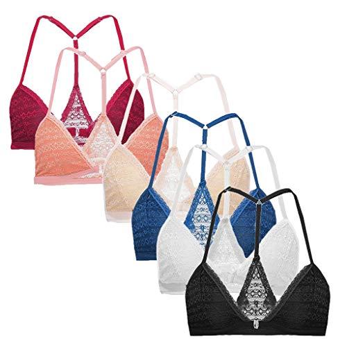 Xuthuly 6PC Frauen Plus Größen-Weste-drahtloser Büstenhalter-Wäsche-reizvoller V-Ansatz Unterwäsche-Leibchen