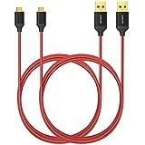 [Pack de 2] Câbles micro USB de 180 cm en nylon tressé Anker anti-emmêlement, avec connecteurs plaqué or, pour téléphones Android, Samsung, HTC, Nokia, Sony et autres