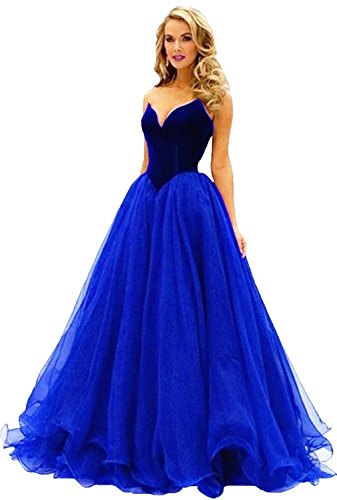 Fanciest Women's Sweetheart Long Ball Prom Dresses 2016 Formal Evening Gowns Royal Blue 32 (Womens Blue Prom Dresses)