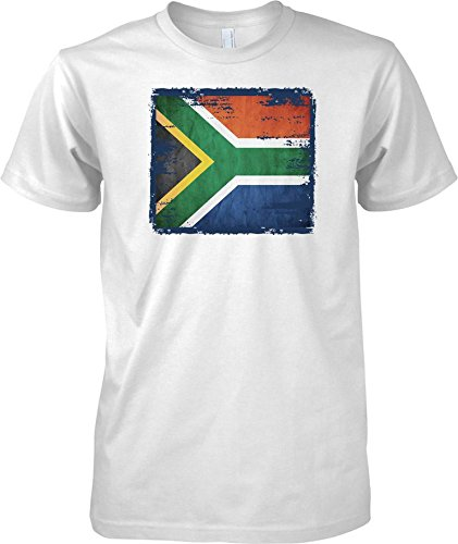 South Africa Grunge Grunge Effect Flag - Mens T Shirt - White - Adult Mens 38-40
