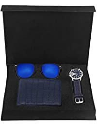 LORENZ CM-203MR-WL-06 Combo of Men's Blue Leather Strap Analogue Watch, Mercury Sunglasses and Blue Wallet
