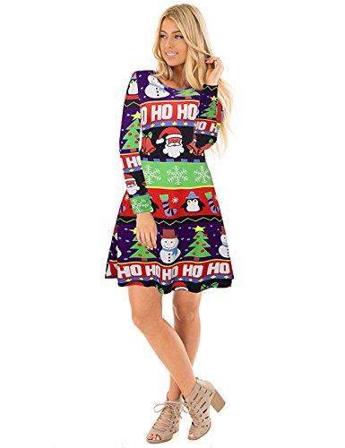 Ruiyige Frauen Schnee Baum Drucken Lässige Weihnachten Kleid Party ...