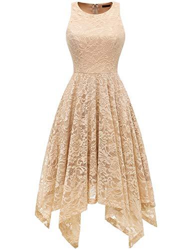 bridesmay Damen Elegant Spitzenkleid Knielang unregelmäßig Zipfel Kleid Cocktailkleid Abendkleider Champagne 3XL