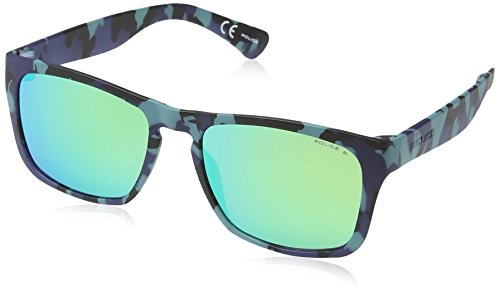 Police S1988 Trick 2 Wayfarer Sonnenbrille, SEMI MATT BLUE / BLACK / AZURE CAMOUFLAGE FRAME / TURQUOISE MIRROR ()