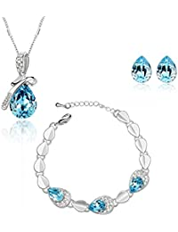 Nakabh Blue Austrian Crystal Combo Jewellery Of Pendant Set With Earrings & Bracelet For Girls And Women In Love