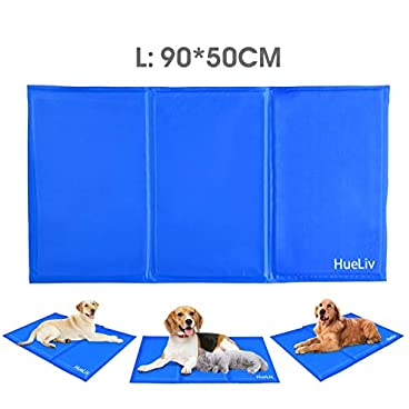 HueLiv Dog Cooling Mat, Large Pet Cool Mat Dog Cooling Pad with Self Cooling Gel, Non-Toxic Activated Gel Cooling Pad Pet Ice Mat, Great for Dogs Cats to Stay Cool This Summer, Blue(90 * 50cm)