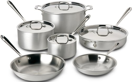 All-Clad 700508 MC2 Master Chef 2 Stainless Steel Tri-Ply Bonded Cookware Set, 10-Piece, Silver by All-Clad Cookware