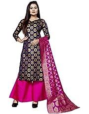 satyam weaves women's ethnic wear cotton silk navy blue colour dress material. (Aksara navy blue)