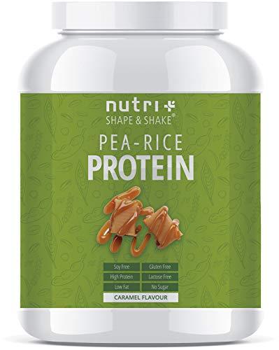 ERBSENPROTEIN - REISPROTEIN Karamell 1kg - Veganes Proteinpulver ohne Soja, Zucker, Lactose, Gluten - Eiweiß Blend Vegan - Pea Rice Protein Powder - In Deutschland hergestellt -
