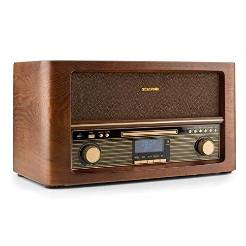 auna Belle Epoque 1906 Stereoanlage - Retroanlage, Digitalradio, UKW und DAB+, Bluetooth, Fernbedienung, USB, Digitalisierungsfunktion, braun