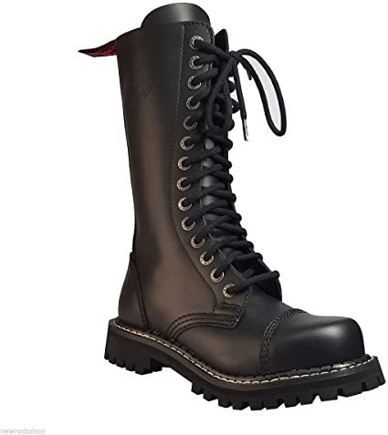 Angry Hitch 14 Hoyos Botas de Cuero Militares color Negro Puntera de Acero Punk