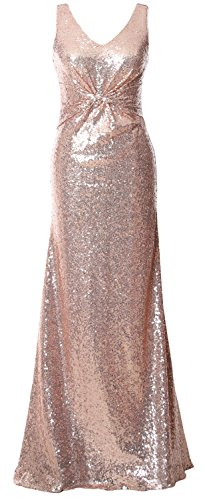 MACloth Gorgeous V Neck Long Bridesmaid Dress Straps Sequin Evening Formal Gown Rose Gold