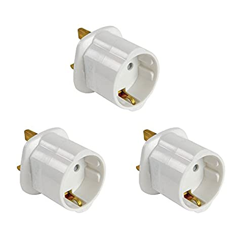 JRing 5Pcs Package Schuko Style Socket EU Europe European 2-Pin to UK 3-Pin Travel Adapter White