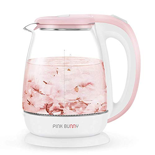 1500w bicchiere bollitore elettrico, 1.8l riscaldamento veloce bollitori elettrici, elettrico borosilicato bicchiere bollitore bpa gratuito protezione contro l'ebollizione e auto shut-off-pink