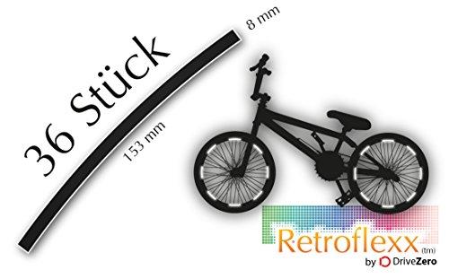 .drivezero. Retroflexx Reflektorenbögen 8 mm für Fahrradfelgen, 36 Stück in Schwarz (Weiß reflektierend)