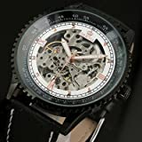 ESS Men's Silver Skeleton Mechanical Automatic BLACK Leather Watch Mens White Dial WM349 best price on Amazon @ Rs. 3349