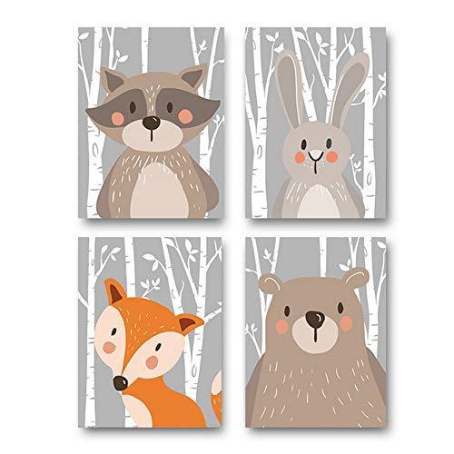 4er Set Kinderzimmer Babyzimmer Poster Bilder Din A4 | Mädchen Junge Deko | Dekoration Kinderzimmer | Waldtiere Safari Skandinavisch(Bär,Kaninchen,Fuchs) Grauer Boden - Elefant Grauer Dekorationen Baby