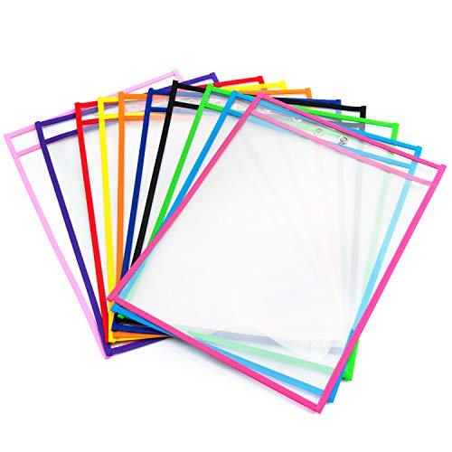 Vordas Abwischbare Durchsichtige Hüllen, 10 Stück Reusable Dry Erase Pockets Schreibwaren Lieferungen für Büro und Schule, 35.5×25.5 cm