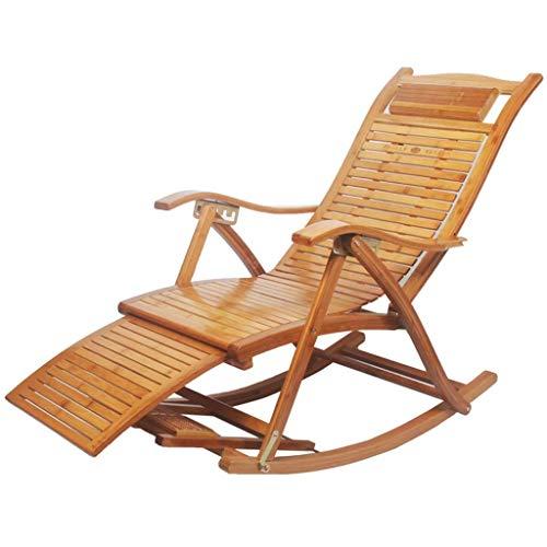 lquide Outdoor Bambus Schaukelstuhl Patio Liegestuhl Lounge Chair Faltbare Einstellbar Verstellbar Rocker Hinterhof Stuhl (Farbe : A) -