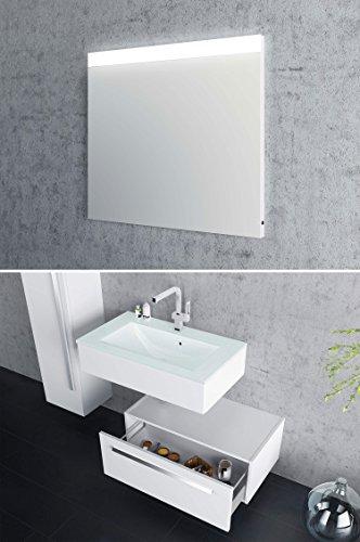 Design Badmöbel-Set Leone - 90 cm breit - Weiß - Badezimmermöbel Waschtisch mit zusätzlichen Unterschrank Spiegel mit Beleuchtung Sieper Jokey -